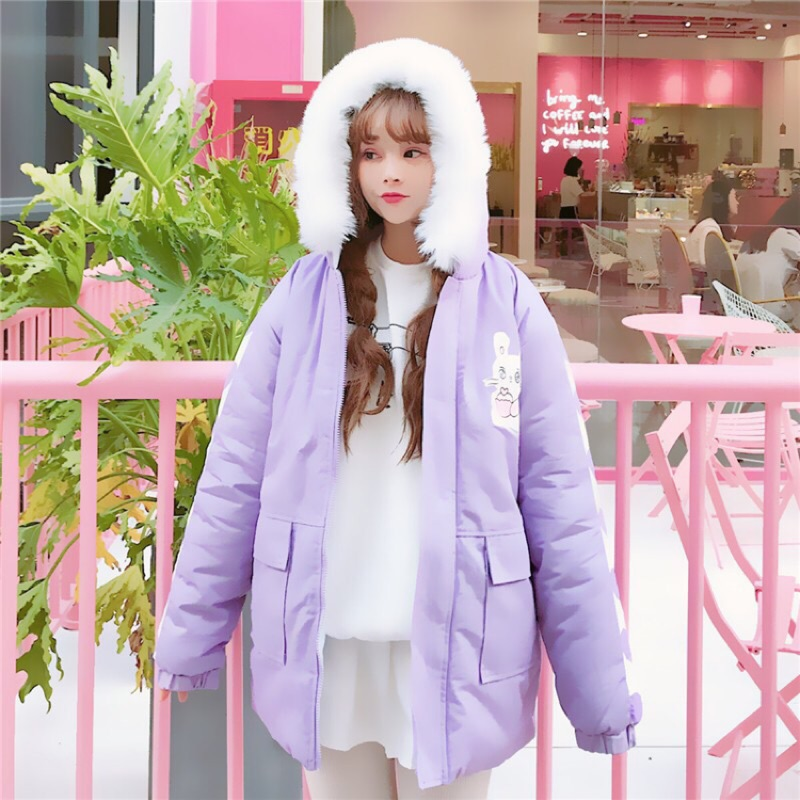 夢幻淡紫毛絨兔子厚軍外套