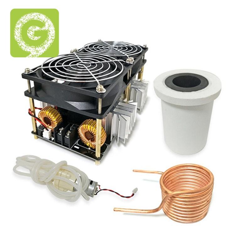2500W ZVS感應加熱器高頻感應加熱PCB板熔融金屬+線圈+坩堝+泵