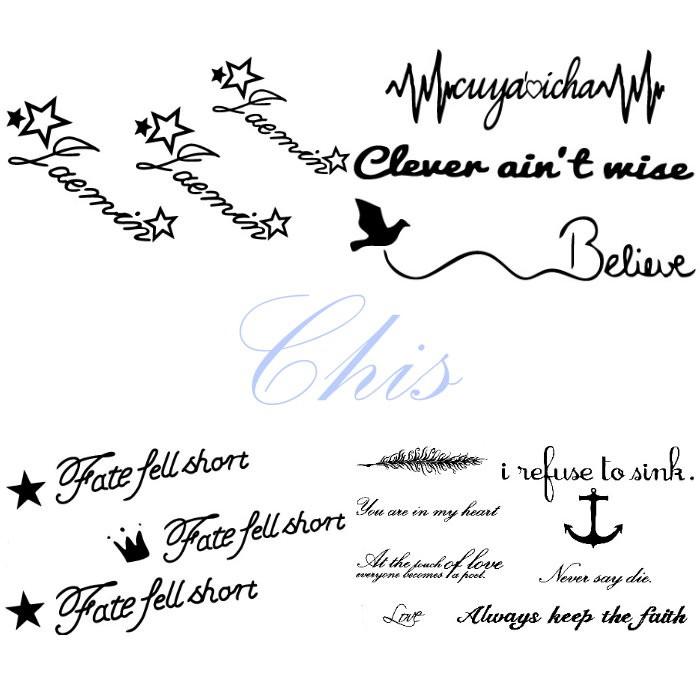 Chis Store FN【彩色個性刺青貼紙】韓國男女性感小清新原宿風英文字母 草寫 船錨 羽毛 星星 飛鳥防水紋身貼紙