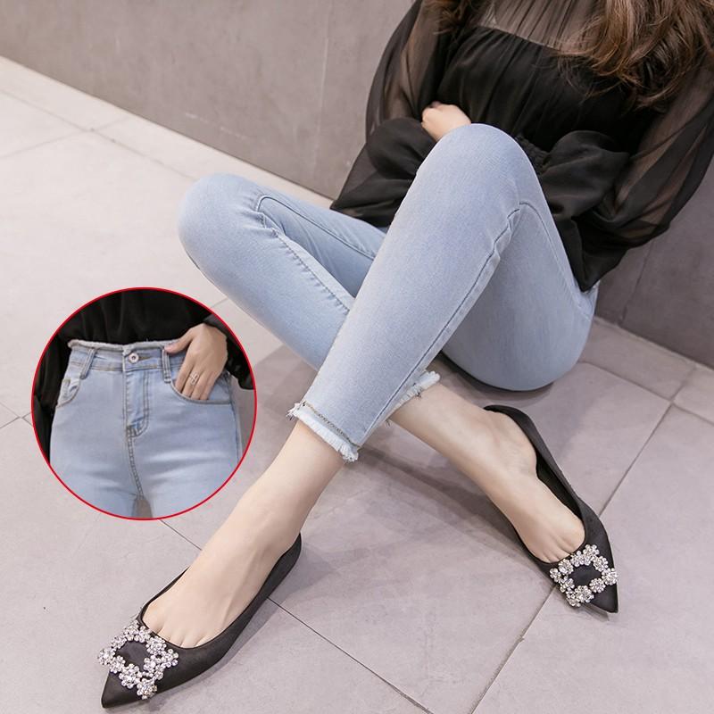 ✣◎℡秋季九分牛仔褲女學生高腰2020韓版修身毛邊顯瘦黑色小腳褲鉛筆褲