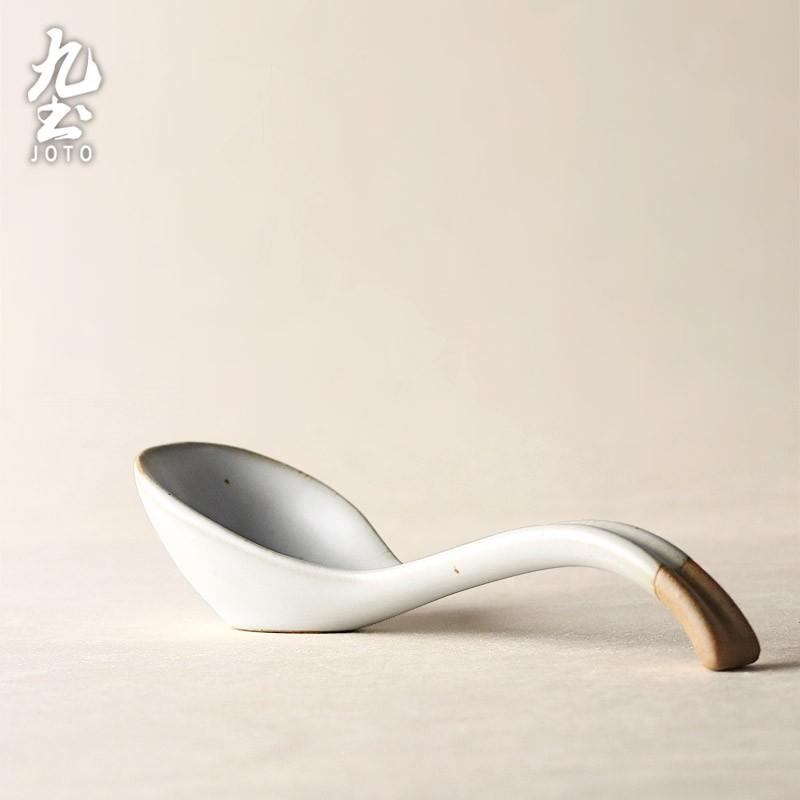 【九土JOTO】日式手工粗陶湯匙日式手工陶瓷湯匙吃飯勺子粗陶勺粗陶餐具小湯勺碗勺復古家用創意