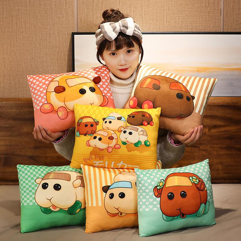 拇小子☞天竺鼠卡通靠枕/包包掛件 臺灣娃娃機日本新款卡通天竺鼠卡通抱枕 車車汽車護腰包 辦公室坐墊靠包 睡覺墊包娃娃玩偶