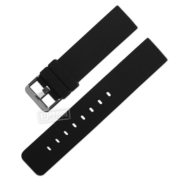 Watchband / 同寬 舒適耐用輕便運動型矽膠錶帶 黑色