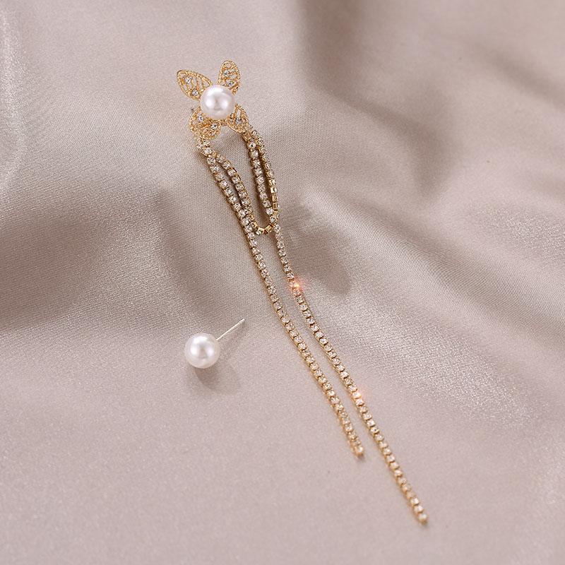 不對稱流蘇珍珠耳環【DDFI】長款 設計感 超閃 氣質 優雅 韓國 新款 耳釘 B4D14