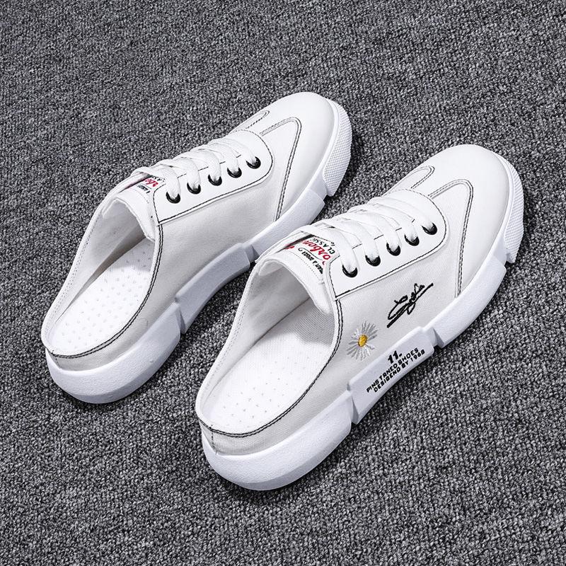 夏季透氣白色帆布男鞋一腳蹬懶人鞋半拖鞋學生無後跟小白鞋百搭休閒鞋潮 RS2D