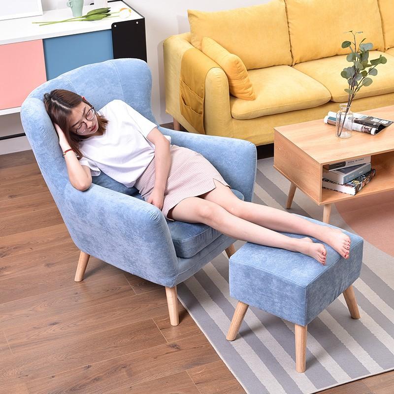 北歐單人沙發椅沙發懶人臥室陽臺網紅款簡約老虎椅小沙發椅子躺椅
