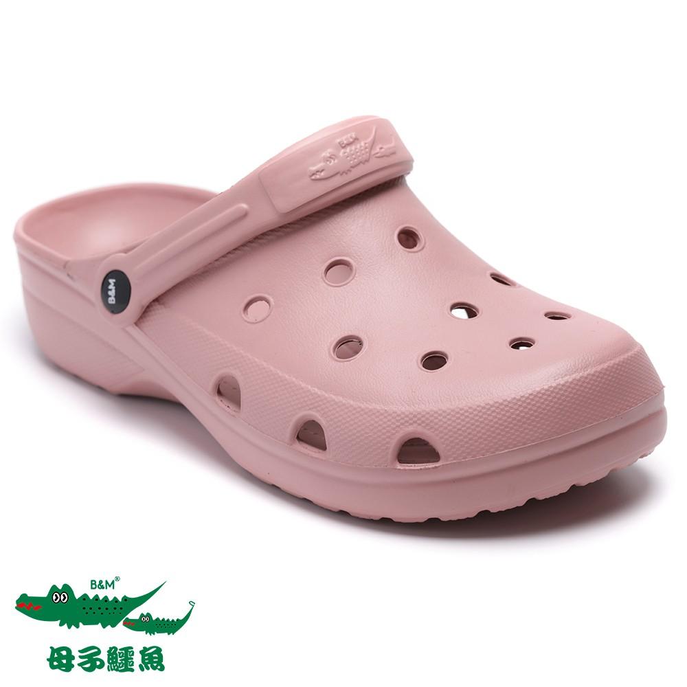 【母子鱷魚】輕量兩用洞洞涼拖鞋-深粉
