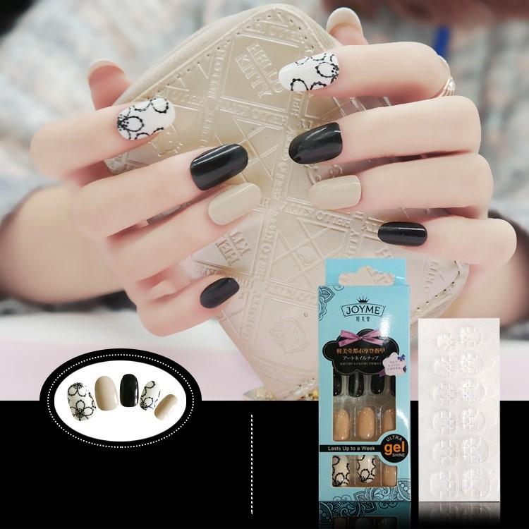 指甲貼片 NJ012 粉嫩甜美日系美甲貼片 假指甲成品圓頭全貼修長手指【買1送5配件】
