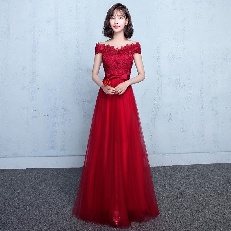 現貨🔥酒紅色 一字領 婚禮 禮服 婚宴 長禮服 演出服 晚禮服 連身裙