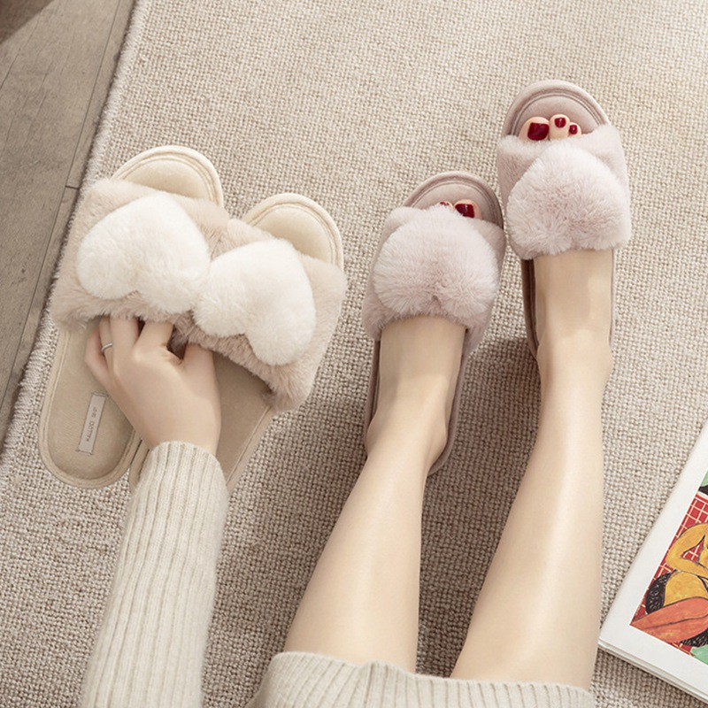 新品 愛心魚口拖鞋 粉嫩少女心毛絨愛心冬季家居拖鞋露趾橡膠底防滑可愛拖鞋女