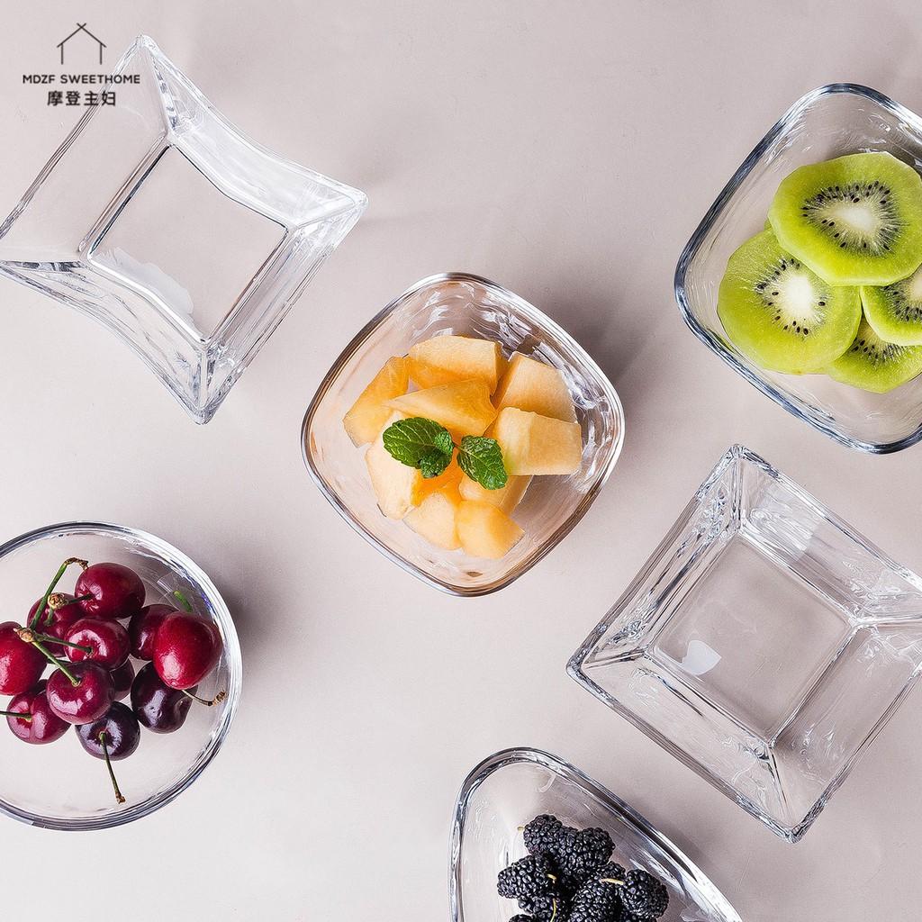 【現貨秒出】摩登主婦 簡約透明玻璃碗 沙拉碗 加厚異形 家用蔬菜水果碗 甜品碗