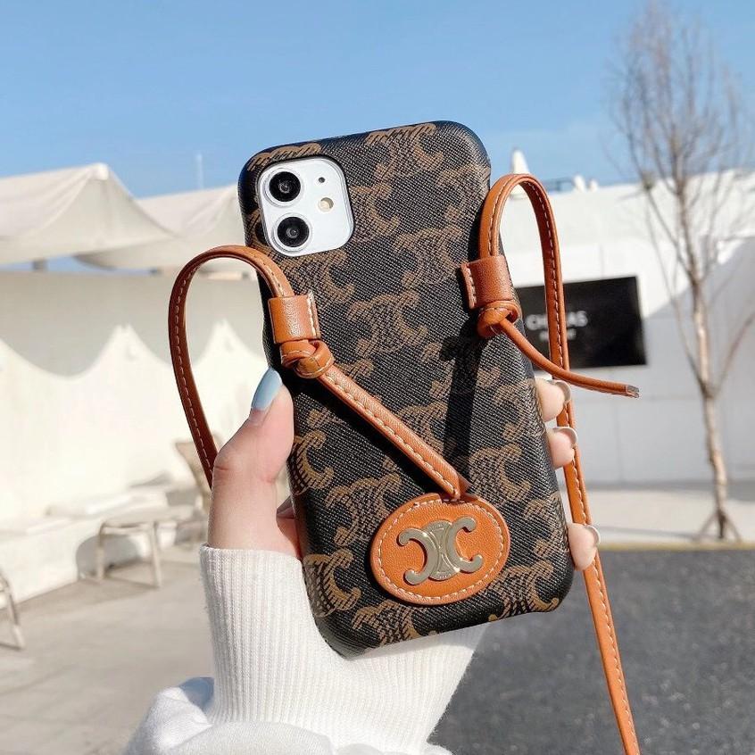 潮牌復古celine適用iPhone 12 11pro 手機殼XS Max SE2 8Plus XR 手機殼斜挎挂绳女款