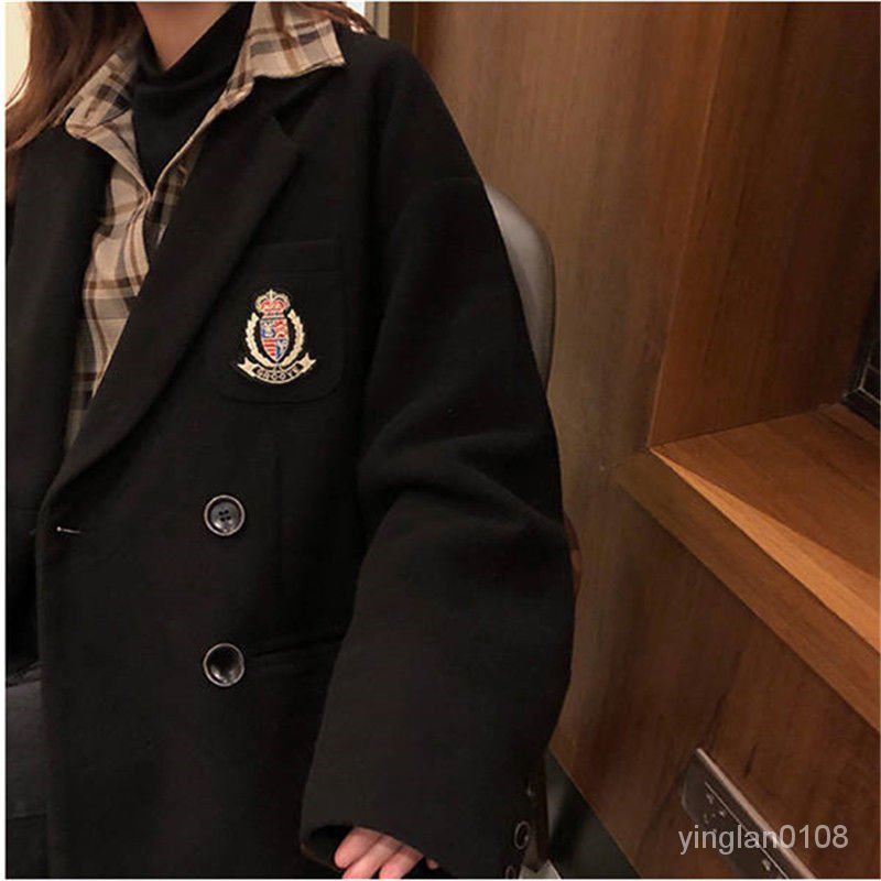 流行黑色新款秋冬大衣2021徽章女中長款西裝領外套呢子學院風毛呢