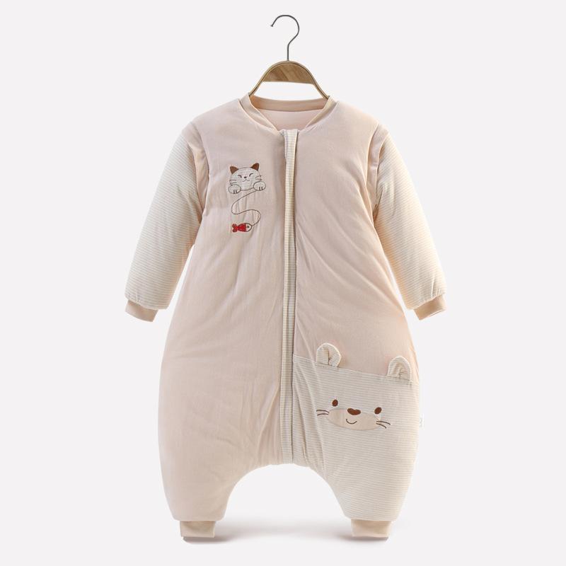 睡袋嬰兒秋冬彩棉大童0-6歲寶寶分腿防踢被卡通加厚空調被防踢被