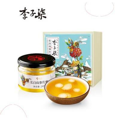 熱銷李子柒長白山參片蜜 椴樹蜂蜜東北野生土蜂蜜人參蜜禮盒248g/瓶