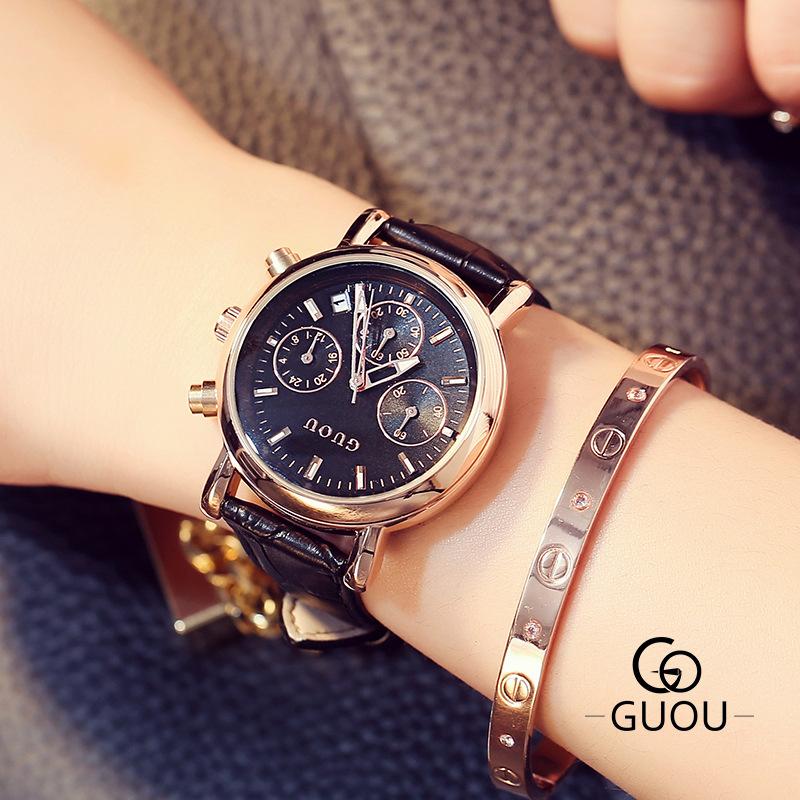 ♥正品古歐♥ GUOU  手錶金屬三眼帶日曆石英大錶盤歐美范時尚女士手錶