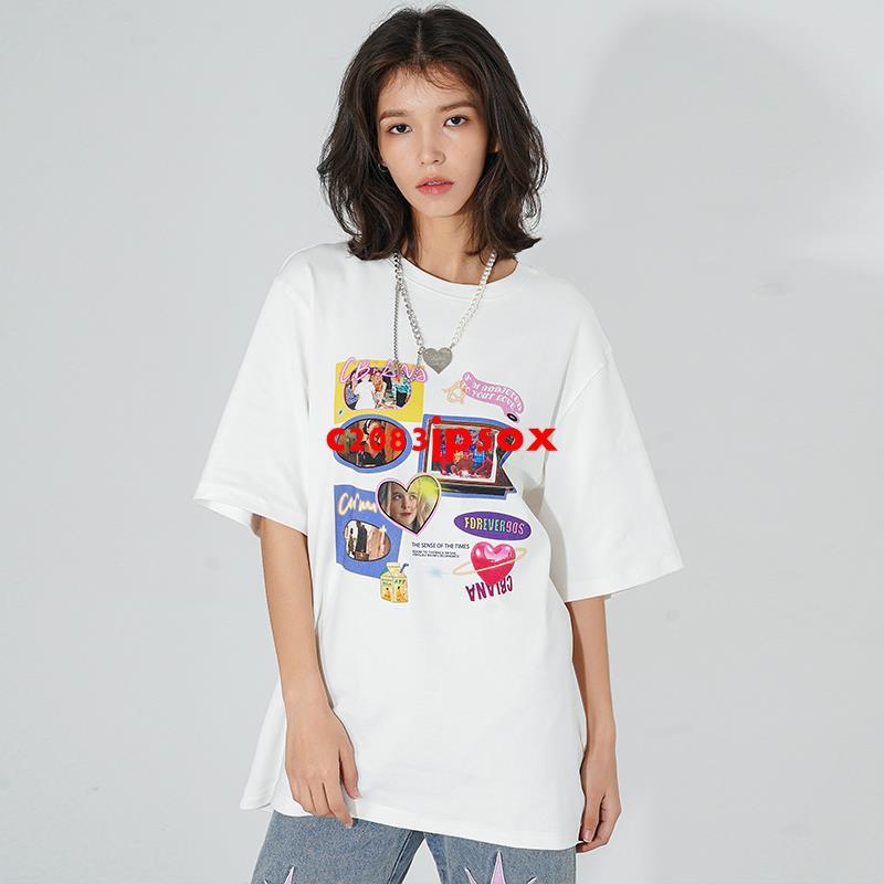 CBIANA/21SS 原創潮牌短袖T恤手繪插畫印花寬松半袖嘻哈體恤Tee