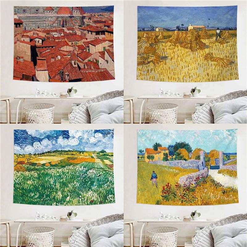 北歐 Ins 背景吊布油畫天空圖案向日葵掛毯臥室裝飾牆覆蓋