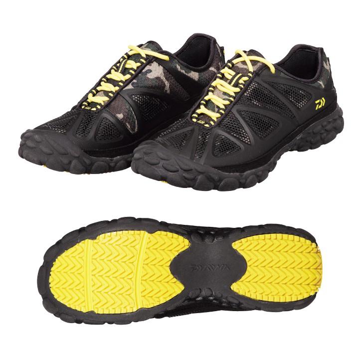 DAIWA 透氣網狀防滑鞋 DS-2301HV 現貨:黑色(黃鞋帶) / 迷彩藍色 【百有釣具】特價款