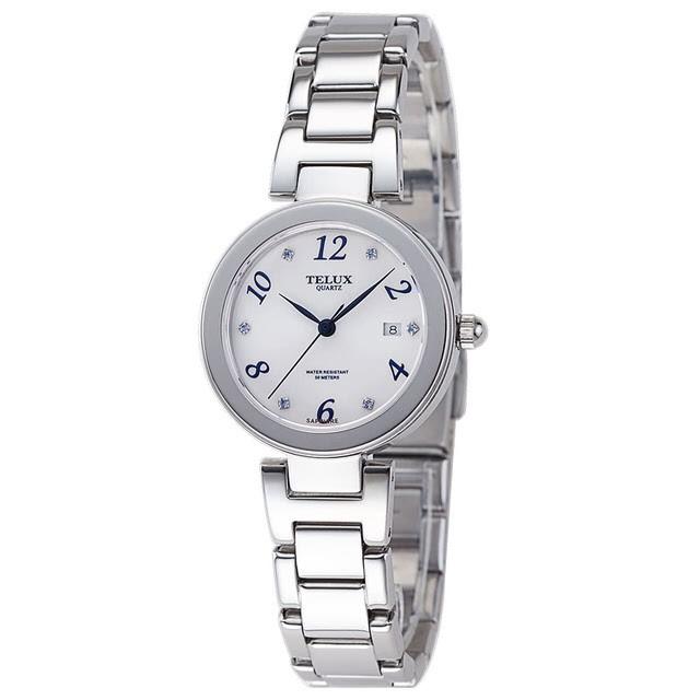 [缺貨中]台灣品牌手錶腕錶【TELUX鐵力士】煥彩女神腕錶 30MM台灣製造石英錶7771W-W20鋼帶白面