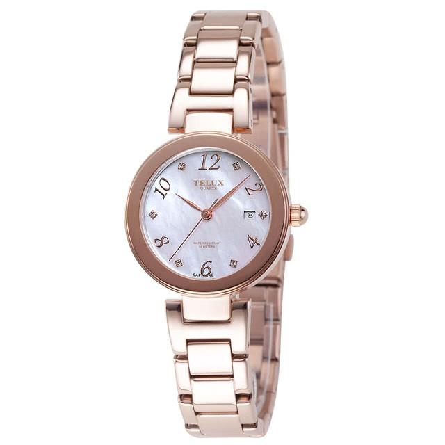 台灣品牌手錶腕錶【TELUX鐵力士】煥彩女神腕錶 30MM台灣製造石英錶7771GRG-W15-SH玫瑰金鋼帶珍珠母貝