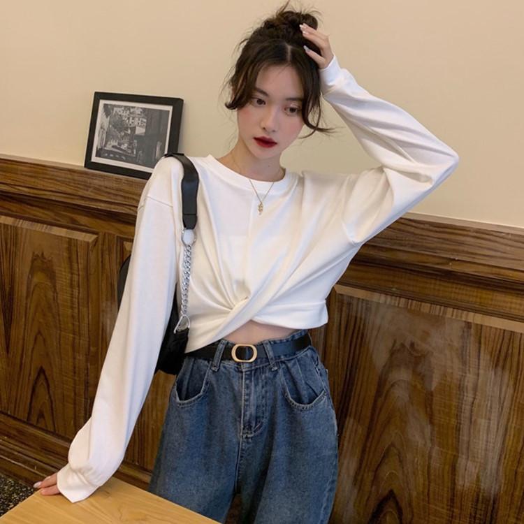 小宅女~~~韓版寬鬆圓領小眾設計感長袖T恤上衣