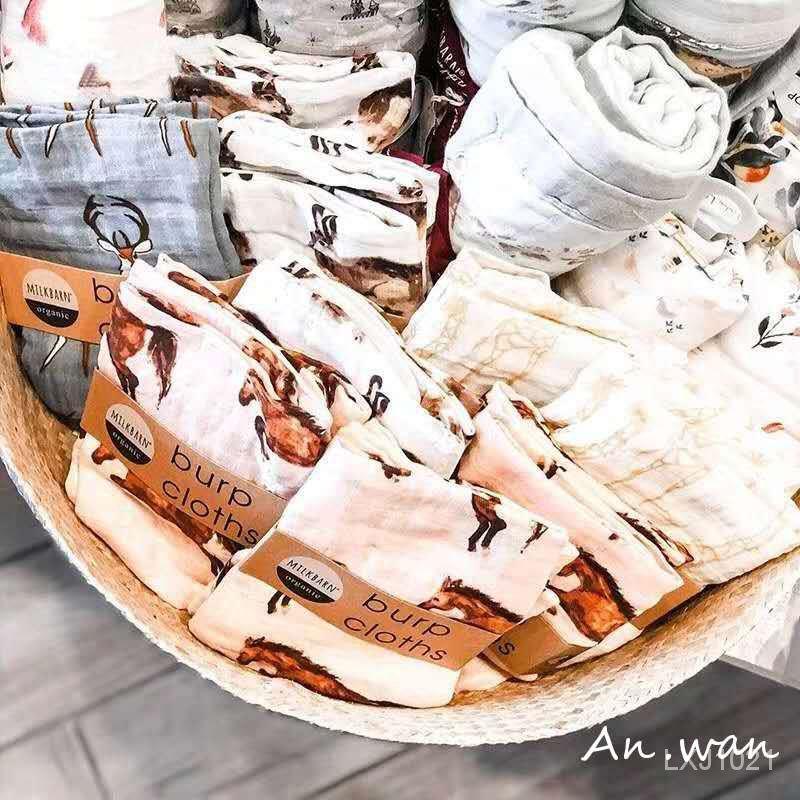 安晚 ( 2條裝)新生兒口水巾寶寶紗布巾竹棉嬰兒吐奶巾小方巾