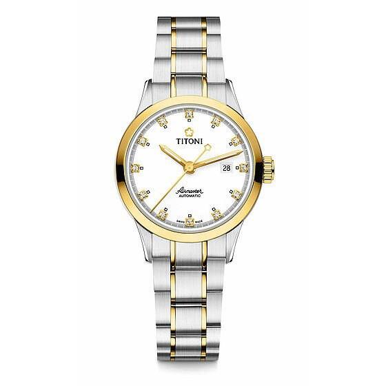 TITONI 瑞士梅花錶空中霸王系列 23733SY-556 單鑽機械腕錶/金銀 29mm