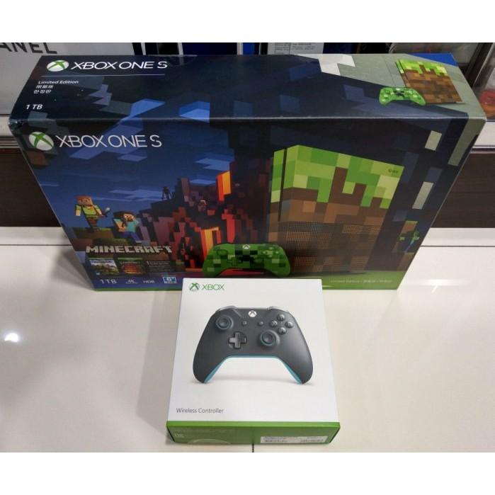 Xbox One S 1TB Minecraft 特別版 我的世界同捆 +藍灰手把 共二手把
