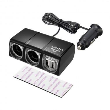 車之嚴選 cars_go 汽車用品【EM-145】SEIKO 4.8A雙USB+雙孔黏貼式 延長線式點煙器電源插座擴充器