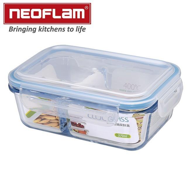 韓國NEOFLAM 耐熱玻璃分隔保鮮盒長方形(1180ml) 加贈316不鏽鋼吸管一支