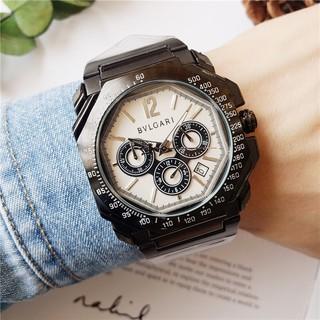 全新現貨 BVLGARI 寶格麗石英錶 全功能石英機芯跑秒手錶 真三眼計時錶 鋼帶 男錶 潮錶 商務男士腕錶 霸氣手錶