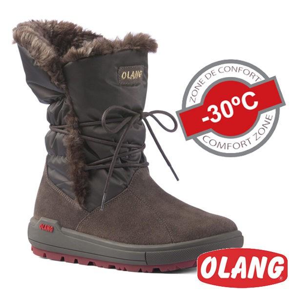 義大利 OLANG 女 皮面中筒防水保暖雪靴 雪鞋 (適用 -30°雪地) OL-1601W