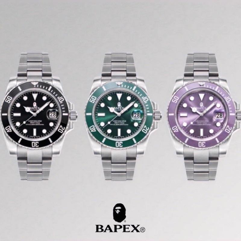 日本正品BAPEX Type 1 代購黑/ 紫 綠水鬼 機械錶 手錶 猿人頭 潮流 滑板 鋼帶 bape ape 預訂