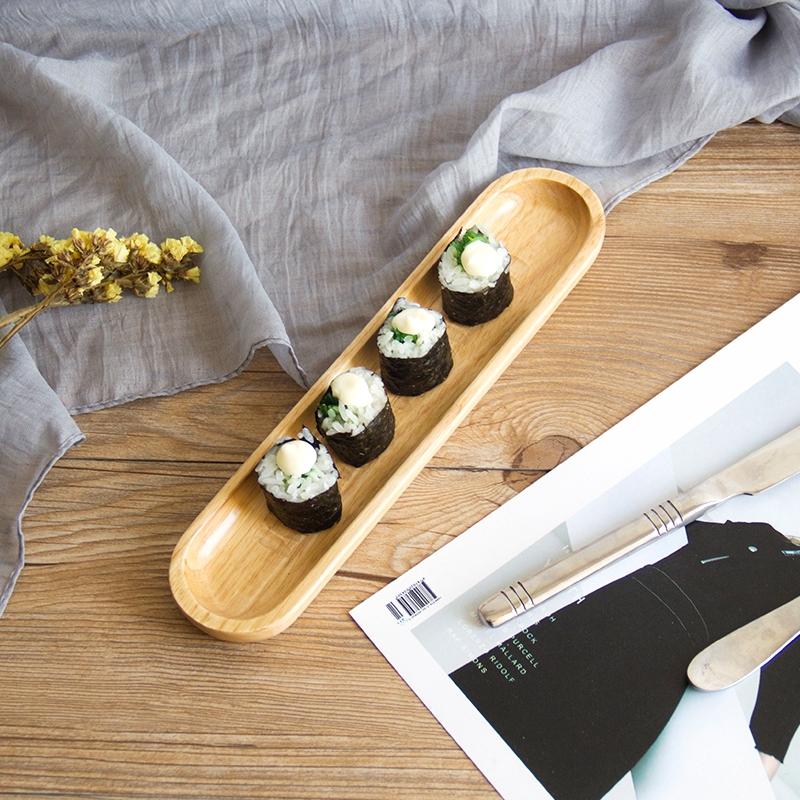 【wj1588】橡膠木盤子壽司盤日式餐盤家用餐廳酒店實木甜品盤木質馬卡龍餐具