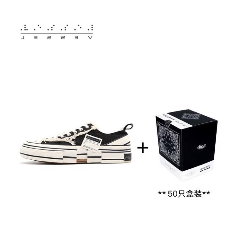 xVESSEL休閒低幫黑色硫化鞋情侣加品牌口罩