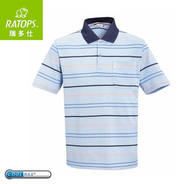 【Ratops 瑞多仕 男 Coolmax條紋POLO短袖上衣《深藍領》】DB8802/POLO衫/休閒上衣//悠遊山水