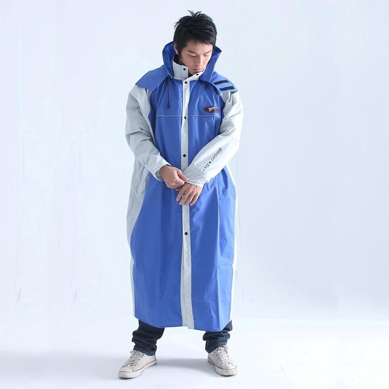 BrightDay蜜絲絨前開連身式風雨衣-藍/灰