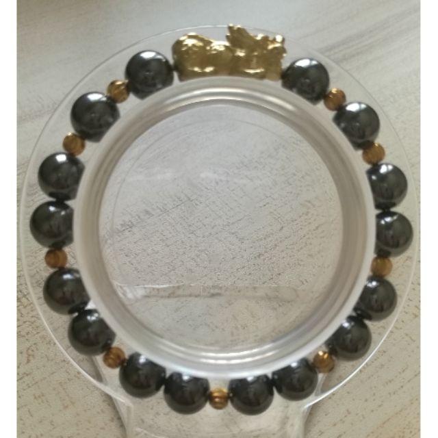 鈦赫茲設計款 鍍金貔貅鈦赫茲 圓形手珠 手串 手鍊 8mm左右