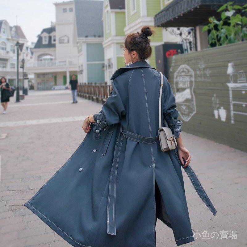 Gsgh 百搭風衣外套中長款藍色韓版氣質大翻領2020年新款小個子女春秋季