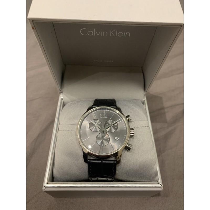 Calvin Klein CK皮革錶帶三眼錶