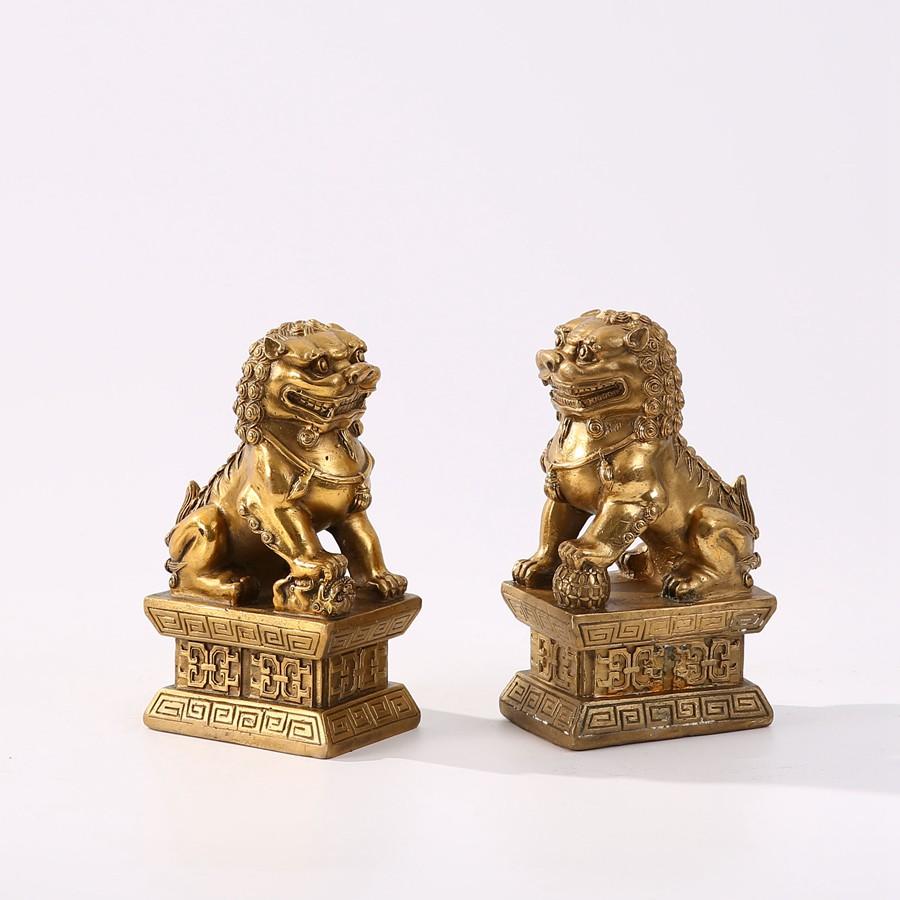 【XBD】傳統中式桌面擺件書房純銅對獅動物擺設小號博古架工藝品裝飾品