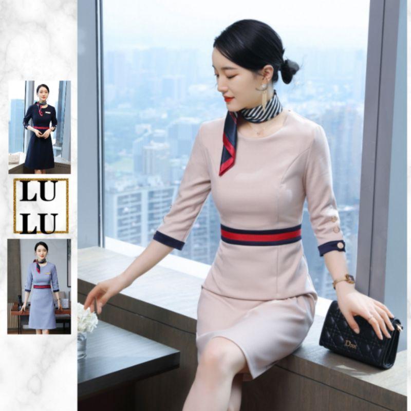 🎀LULU時裝店🎀韓版七分袖職業連身裙洋裝美容師制服3色029-532