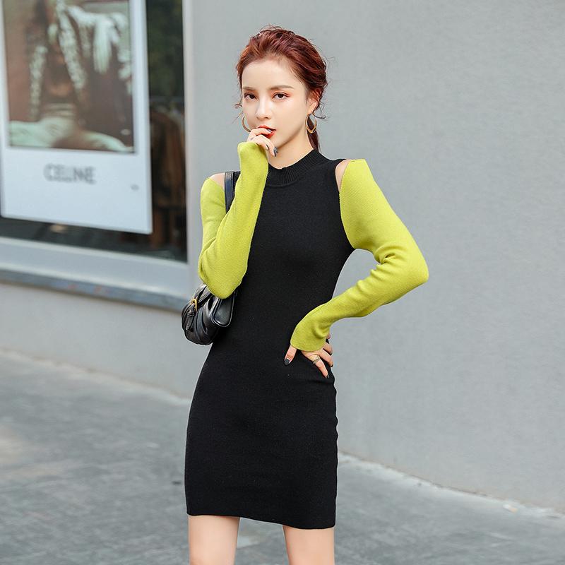 撞色針織洋裝彈力緊身短板包臀連身裙