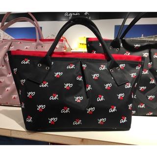 全新 Agnes b. 小 黑色 粉紅色 紅色內袋 水餃包 手提包 三層包 ab愛心 保證真品 尼龍 日本製 女用 包包 台北市