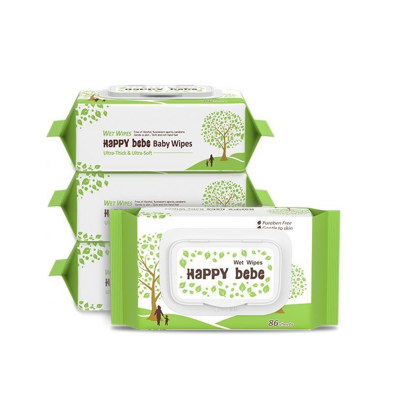 台灣【現貨】臺灣進口Happy bebe嬰兒水柔濕紙巾寶寶手口濕巾紙大包裝86片4包