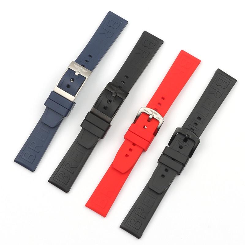 適配Breitling百年靈超級海洋文化黑鳥防水硅橡膠手表帶20mm 針扣