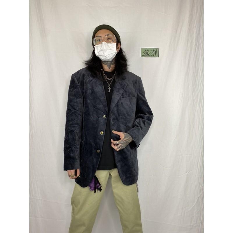 古著美品 二手 PIERRE BALMAIN Paris 法國皮爾帕門 臺灣製 高級絨面深灰黑鋸齒紋路西裝3釦外套 52
