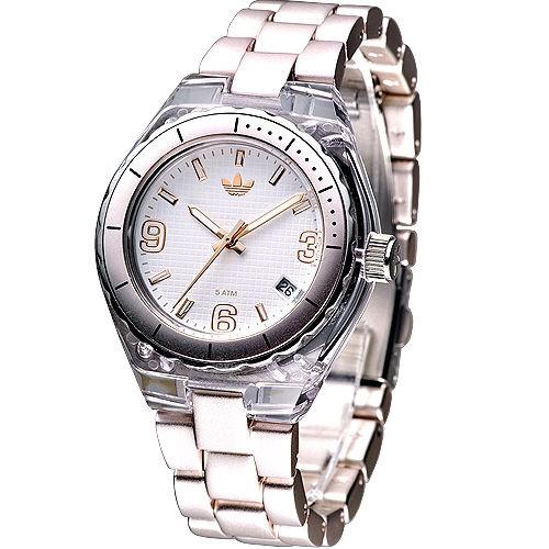 【adidas】手錶 ADH2538 時尚貴族輕質鋁合金女錶-香檳金★保固一年,㊣超值搶購