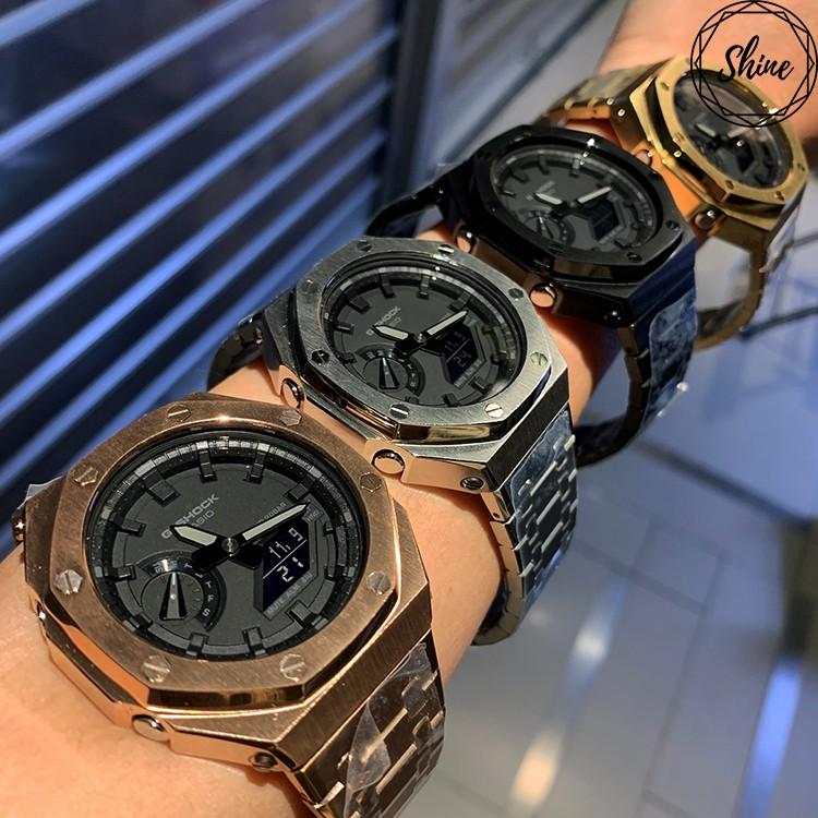 [Shinecollectionhk] GA-2100-1A1改裝手錶 全套不鏽鋼錶帶錶殼 客製G-SHOCK手錶改裝